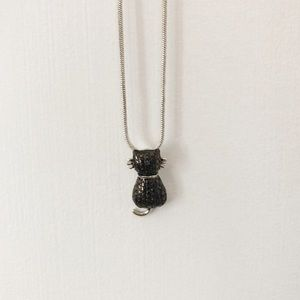 Genuine Black Diamond Cat Necklace